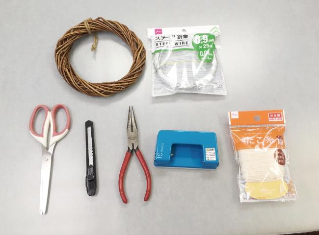 桜のモビールの作り方01_材料と道具の一覧