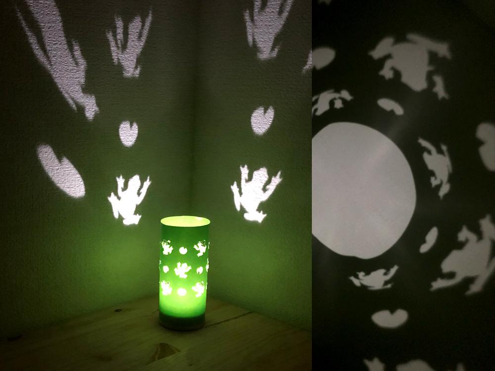 切り絵照明13_完成した照明カエルのクラフトタイプ